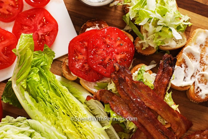 Open BLT sandwich with salt and pepper