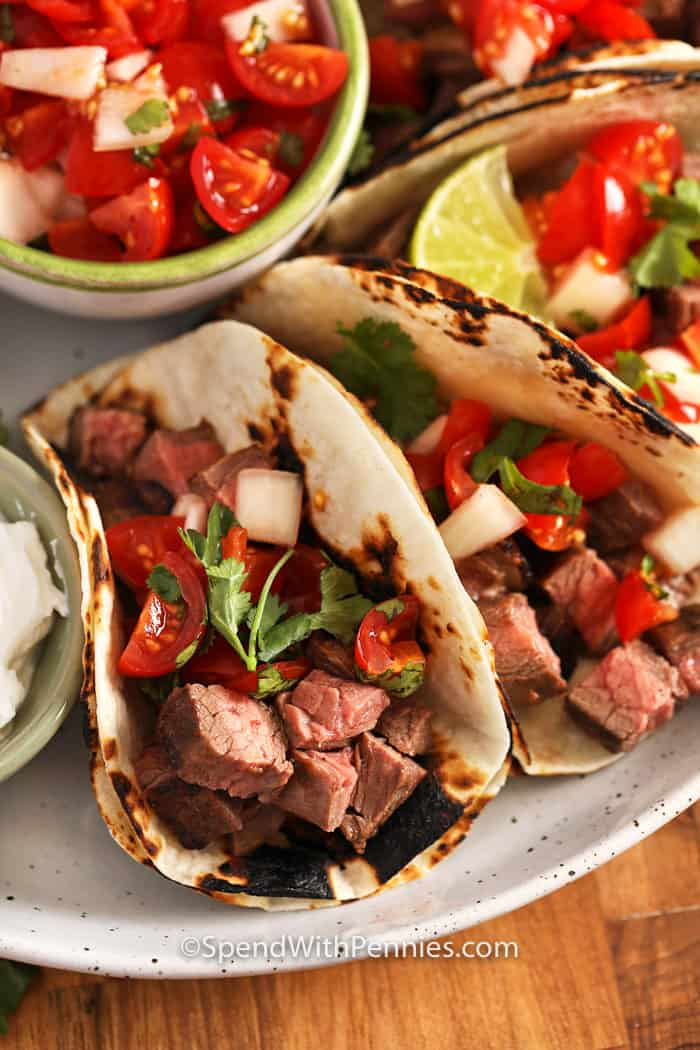 Plate with grilled steak tacos