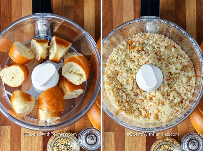 bread in a food processor for Everything Cheese Stuffed Chicken