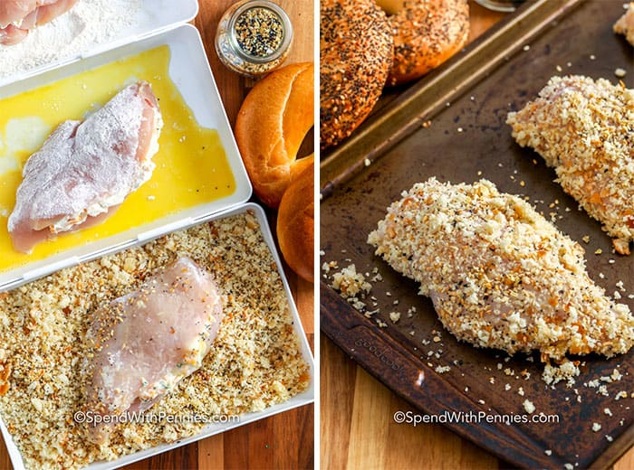 Chicken breast being dipped in egg and bread mixture and on a baking sheet