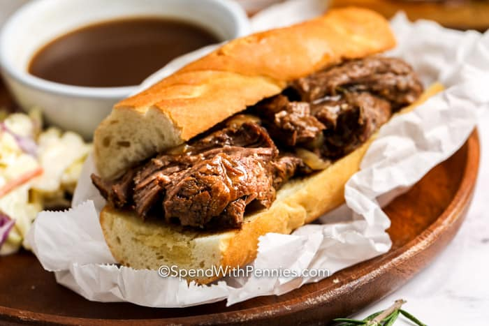 French Dip on a plate with parchment paper