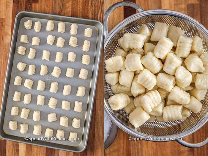 Left image - potato gnocchi on a baking tray. Right image - Gnocchi in a strainer.