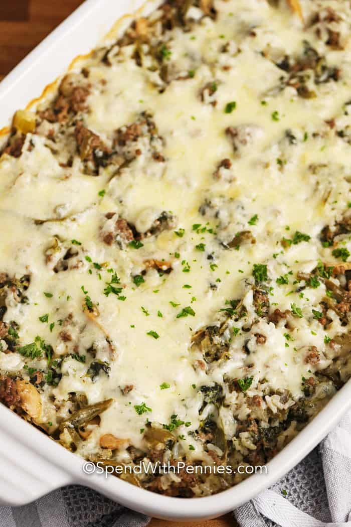 Overhead image of Ground Beef & Rice Casserole in a casserole dish.
