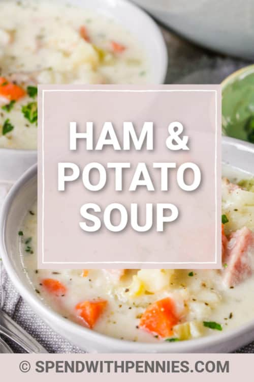 a bowl of creamy ham and potato soup.