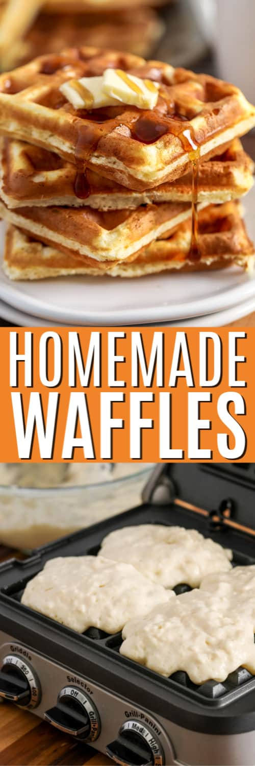 Homemade Waffles being cooked and on a plate with a title