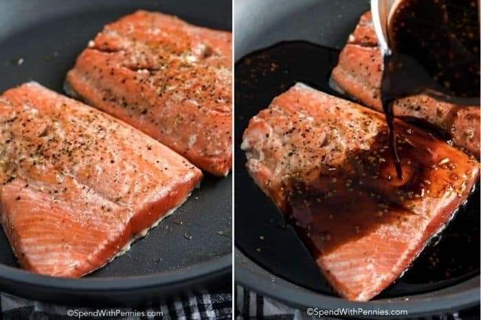 Pans with cooked salmon and a honey soy glaze being poured overtop