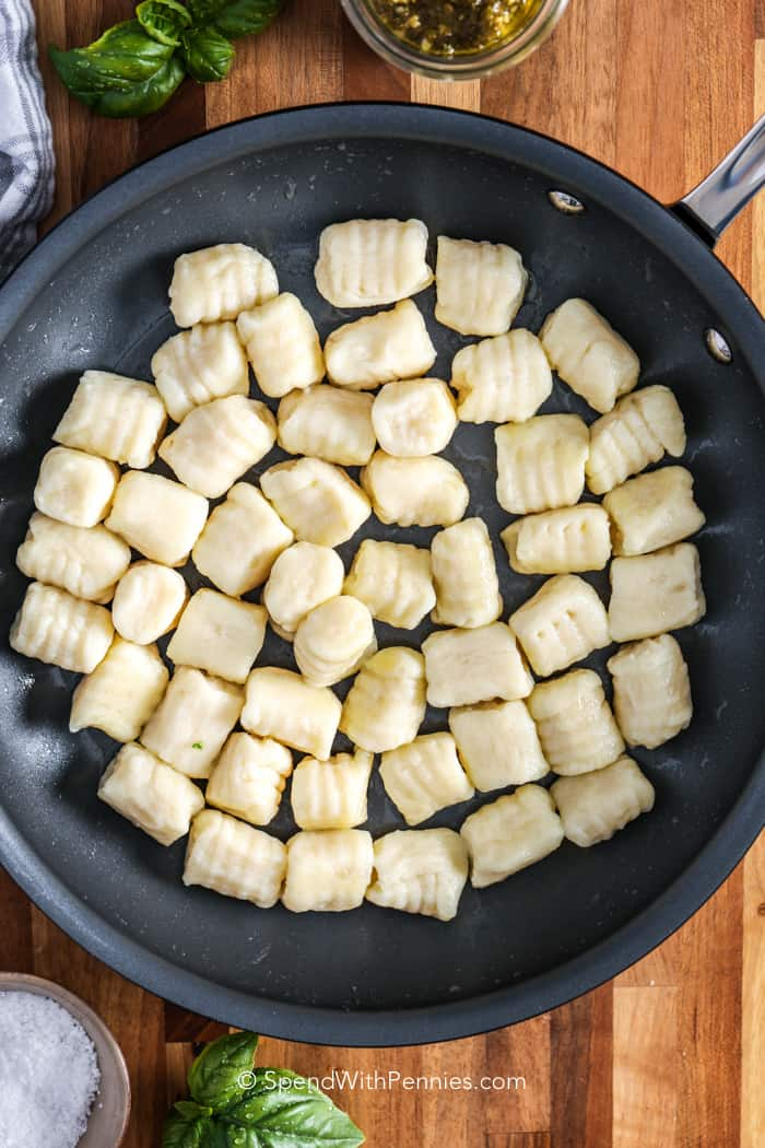 A pan of gnocchi ready to serve