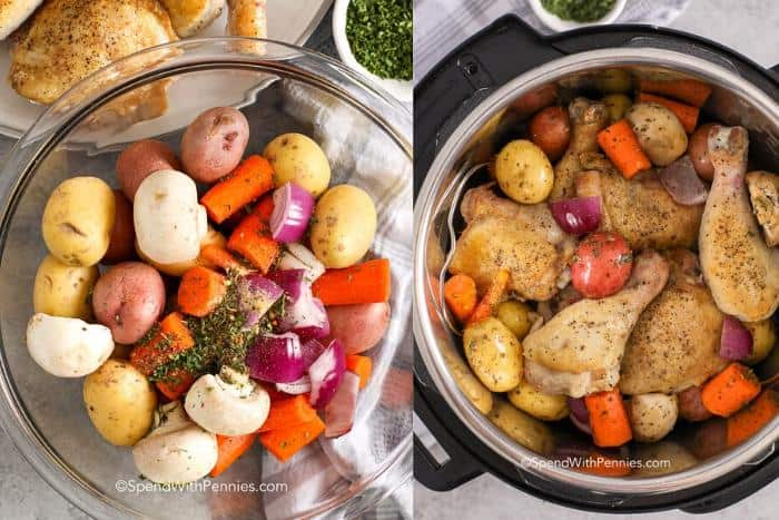 Left image - instant pot vegetables in a glass bowl with seasoning. Right image - instant pot chicken and vegetables in the instant pot.