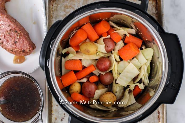Veggies in the instant pot for Instant Pot Corned Beef