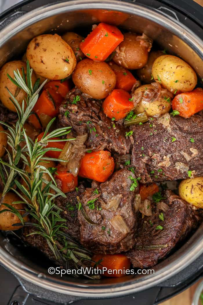 Pot Roast with rosemary in a pressure cooker