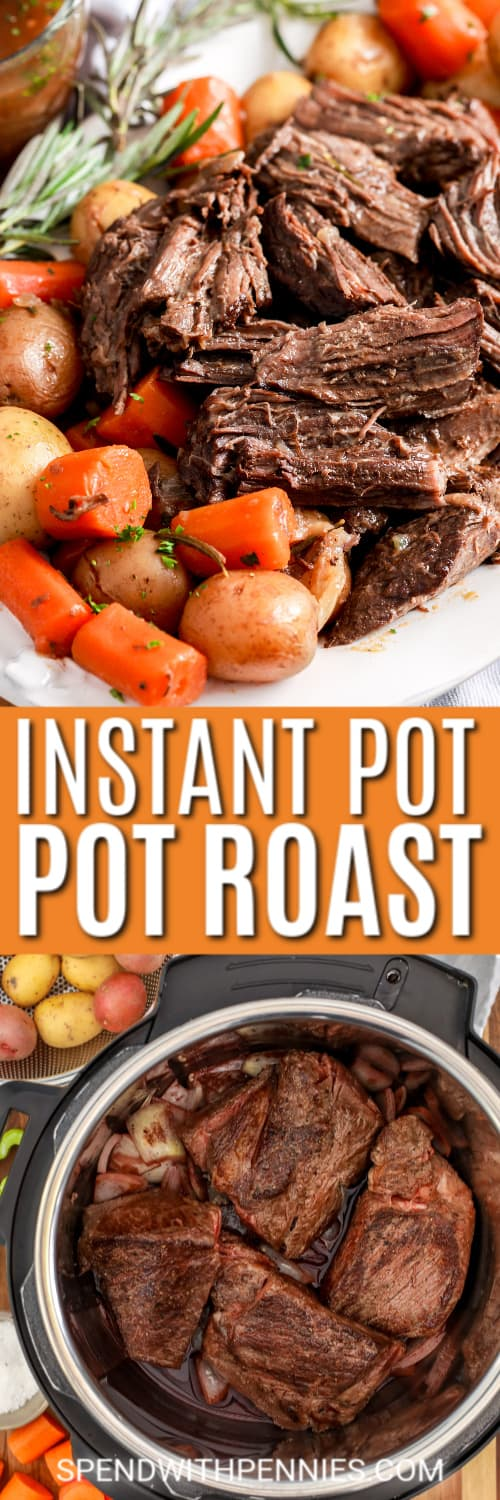 Instant Pot Pot Roast on a white plate with writing