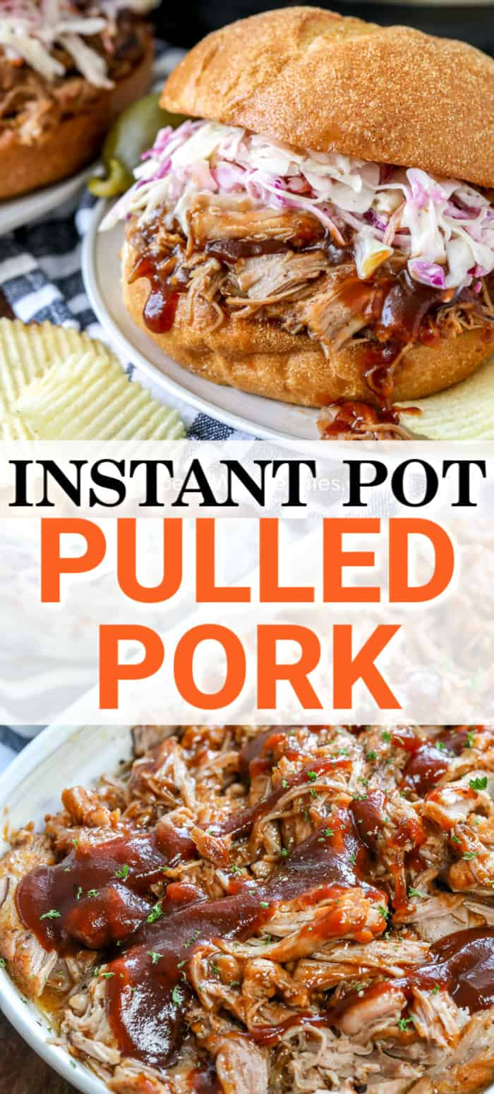 Instant Pot Pulled Pork with writing