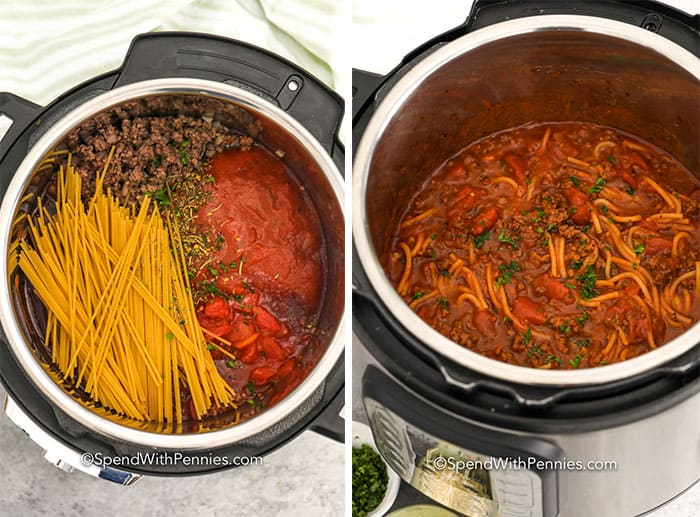 Ingredients for Instant Pot Spaghetti in an instant pot