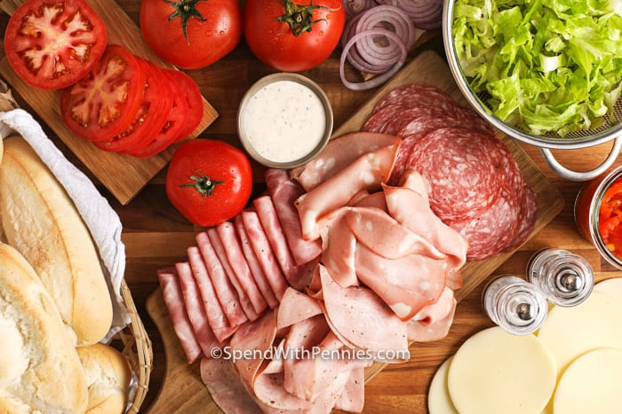 Ingredients for Italian Sub Sandwich
