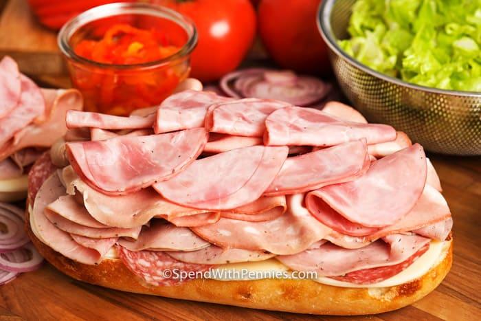 Open Italian Sub Sandwich