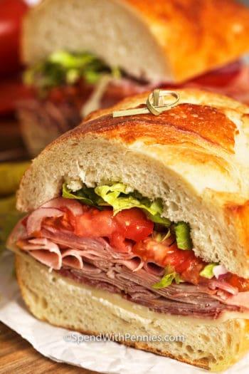 Half of a Italian Sub Sandwich