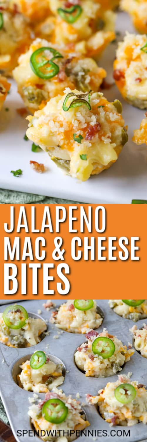 Top image - jalapeno mac and cheese bites. Bottom image - jalapeno mac and cheese bites topped with jalapenos.