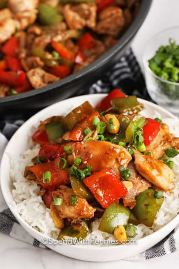 A serving of Kung Pao Chicken over rice
