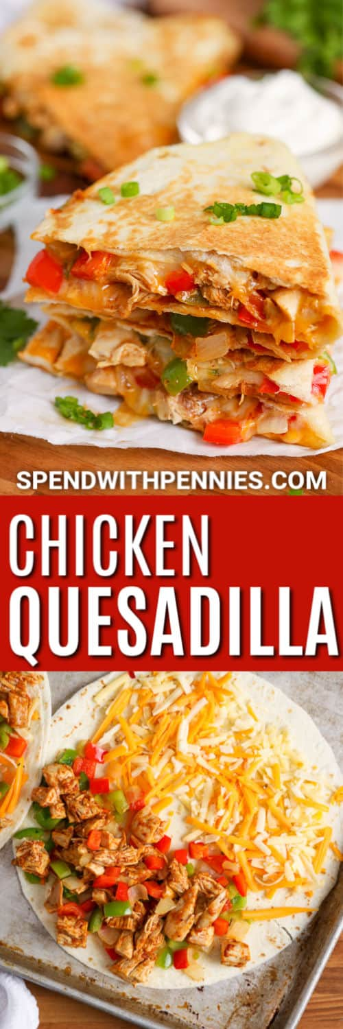 A pan of prepared chicken quesadillas with guacamole, sour cream, and salsa.