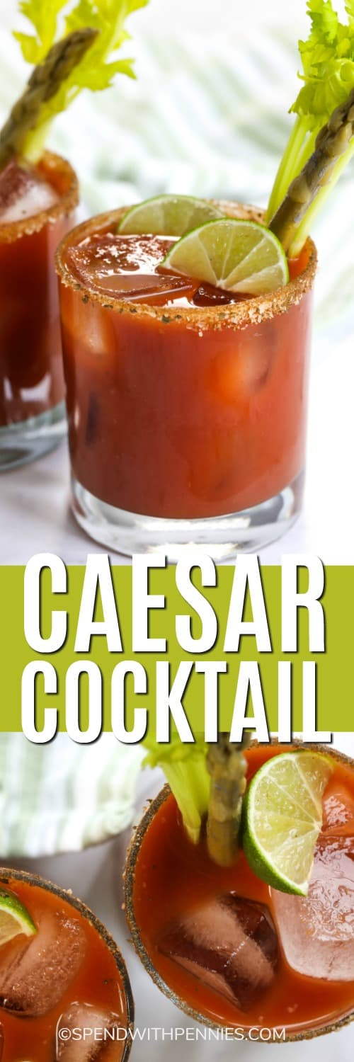 Top image - a caesar drink garnished with celery and a pickled asparagus. Bottom image - overview of a prepared caesar cocktail garnished with celery and a pickled asparagus.