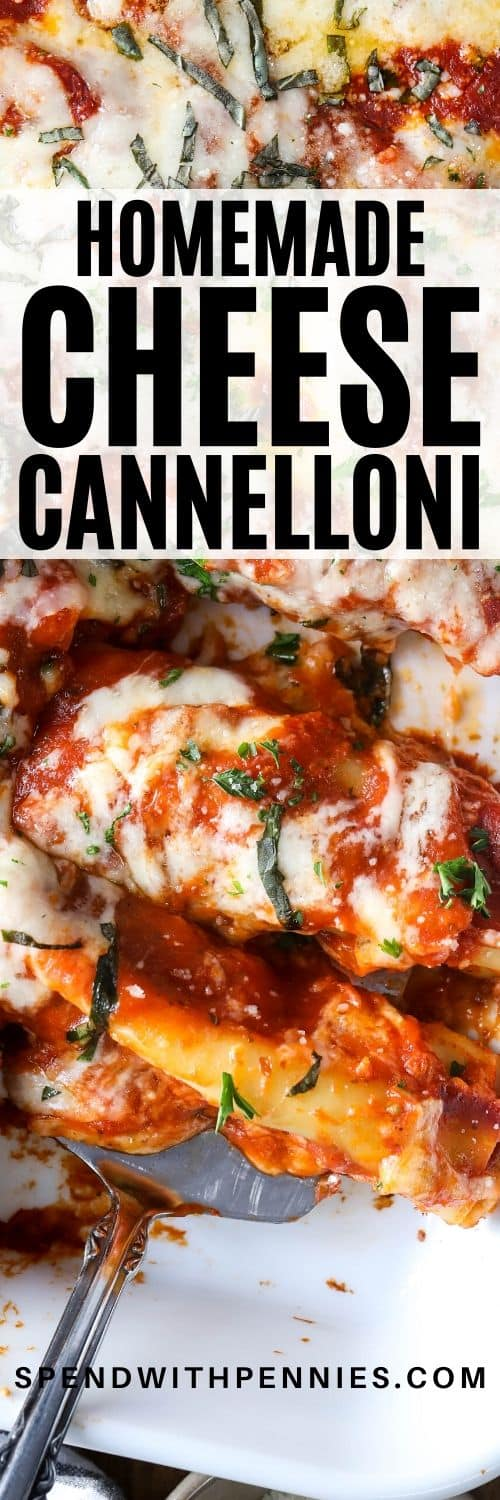 Cheese Cannelloni in a casserole dish with a title