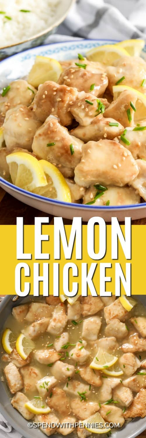 Chicken in a pot and Lemon Chicken in a bowl with writing