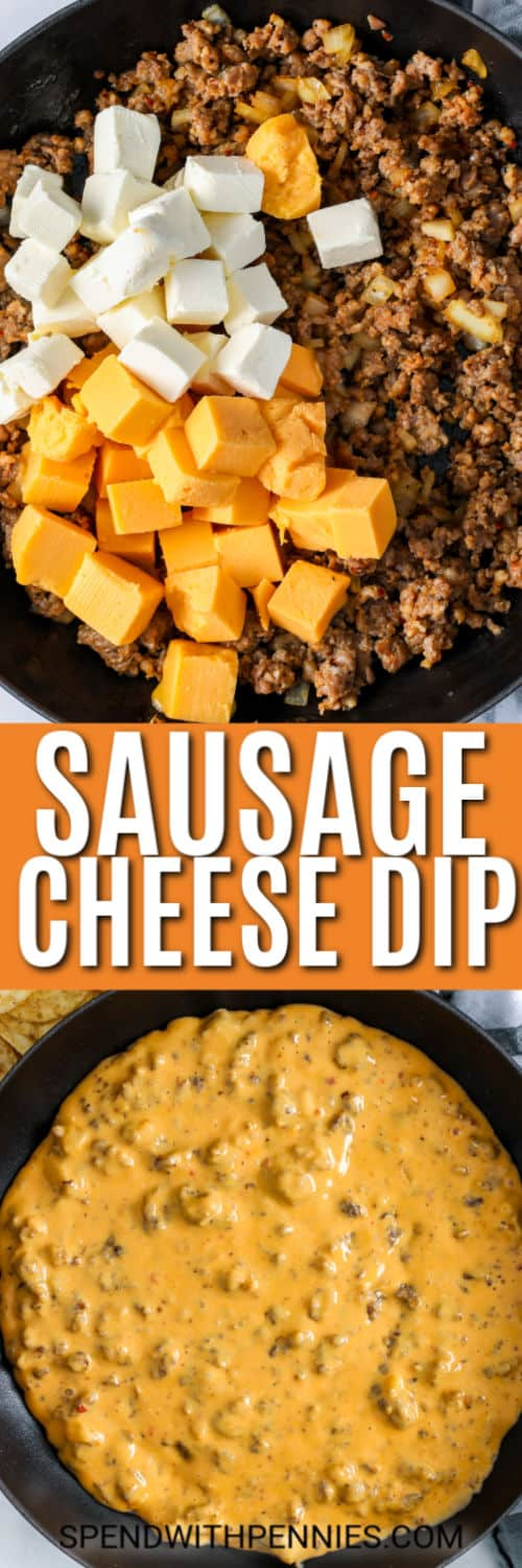 Top image - browned sausage with cheese cubed before melting. Bottom image - prepared sausage cheese dip.