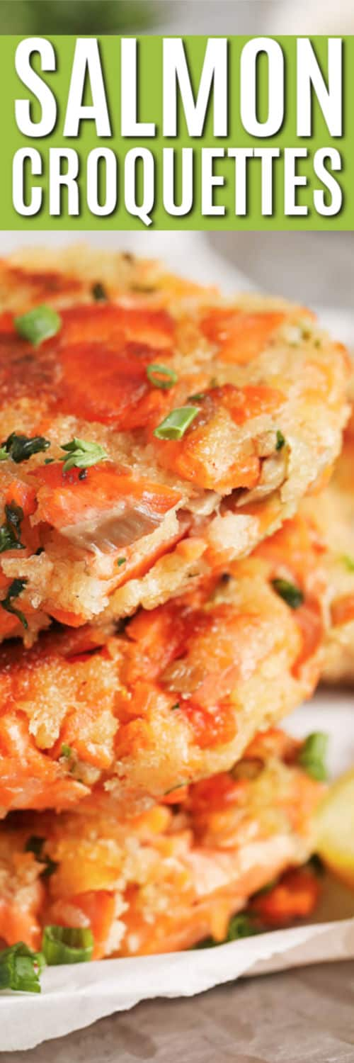 Stack of Salmon Croquettes with a title