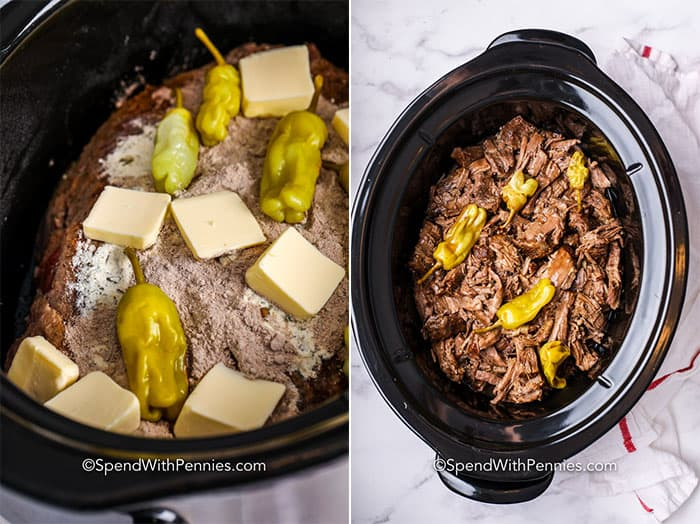 Two images showing Mississippi pot roast before and after being cooked in the Crockpot.