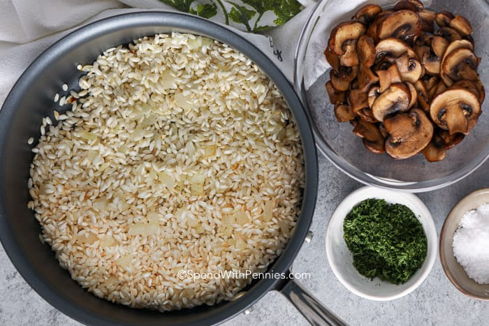Mushroom Risotto ingredients in a pot and bowls
