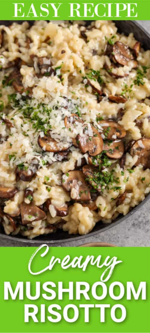 Mushroom risotto garnished with parsley and parmesan.