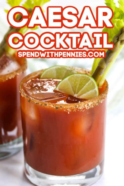 Caesar Cocktail with lime and a title
