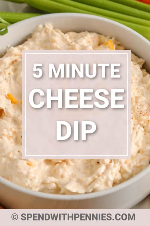 Cheese Dip in a bowl with writing