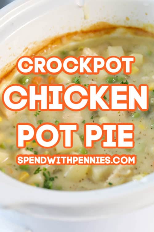 A crockpot full of chicken pot pie filling.