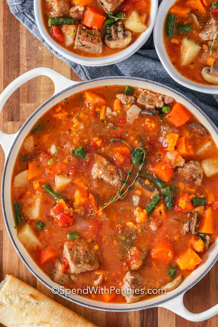 Pork Stew in a pot with thyme