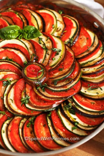 Baked Ratatouille in a pan with basil