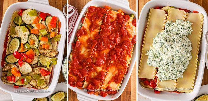 Process shots showing vegetable lasagna being layered in a baking dish.