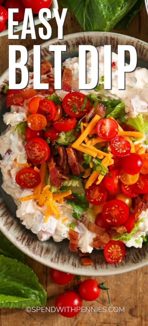 A bowl full of BLT Dip. Topped with bacon, lettuce, tomatoes, and shredded cheese.