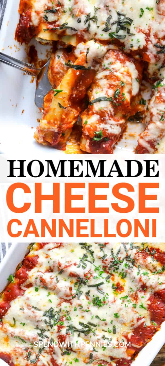 Cheese Cannelloni with a title