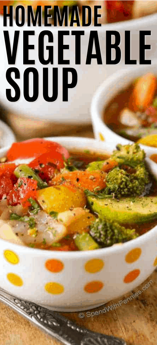 Weight Loss Vegetable Soup in a bowl with a title