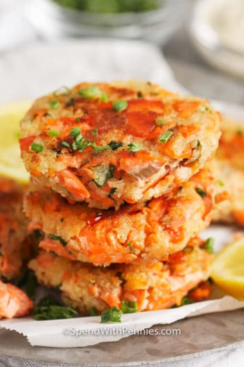 Stack of Salmon croquettes