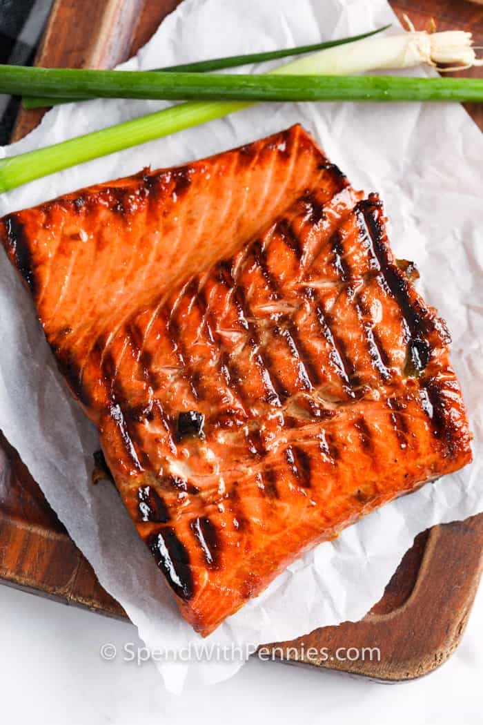 Salmon Marinade on a cutting board top view