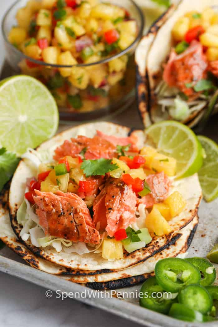 Salmon Tacos with Pineapple Salsa unwrapped