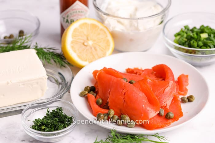 ingredients for Smoked Salmon Dip on a plate and bowls