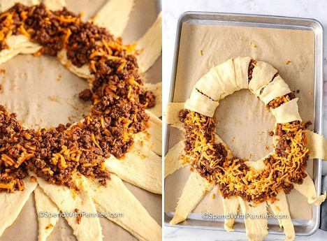 unbaked Taco ring on a sheet pan to show how to fold it over
