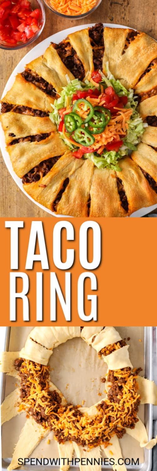 Taco Ring being wrapped and on a plate with writing