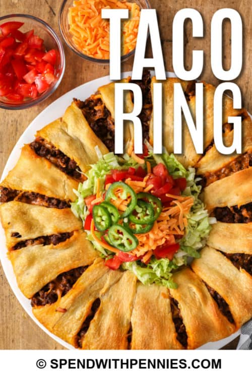 Taco Ring on a plate with writing
