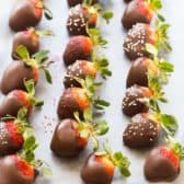 chocolate covered strawberries on pan
