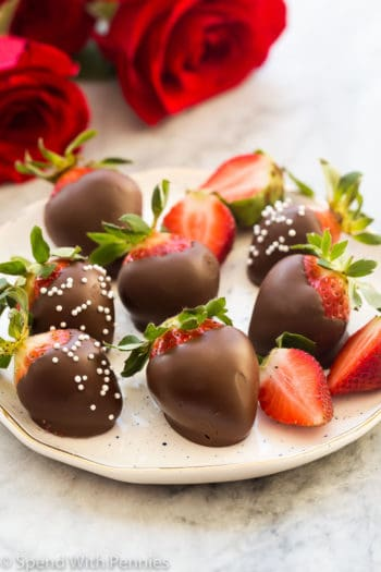 chocolate strawberries on plate