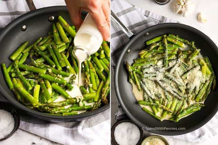 Two images showing the homemade sauce being made with the sautéed asparagus.